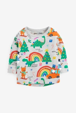 Next Grey Marl Long Sleeve Christmas Rainbow T-Shirt