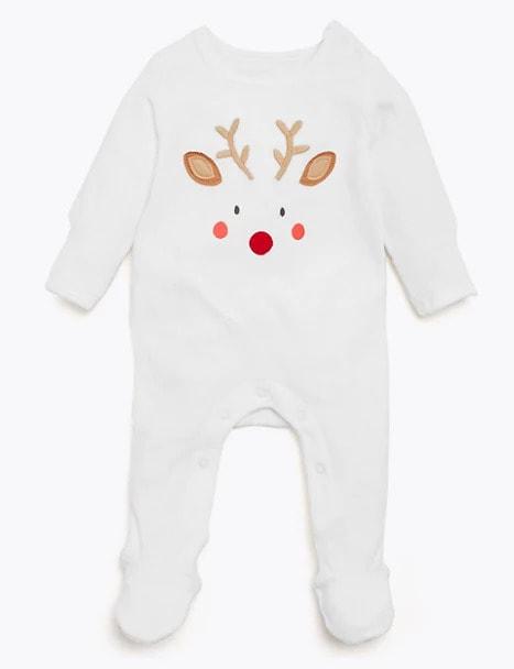 Cotton Velour Reindeer Sleepsuit