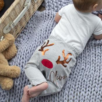 Personalised First Christmas Reindeer Baby Leggings