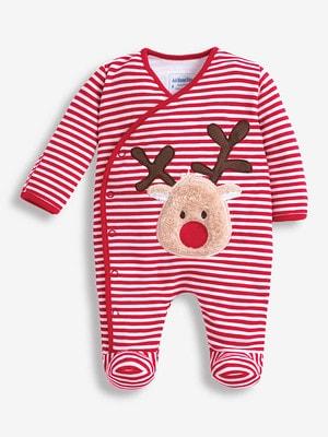 JoJo Mamam Bebe Reindeer Applique Baby Sleepsuit