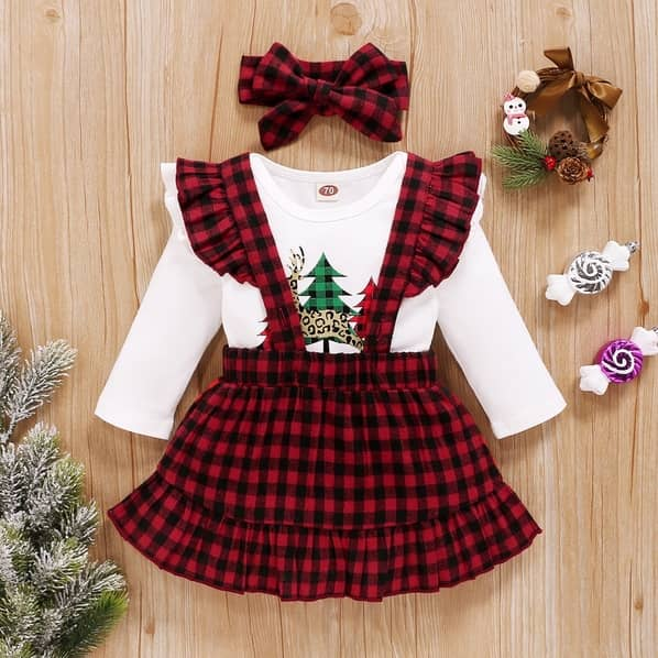 PatPat Baby Girl Plaid & Elk Sweet Suit Dress