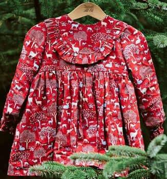Alioli Kids Girls Red Woodland Christmas Dress