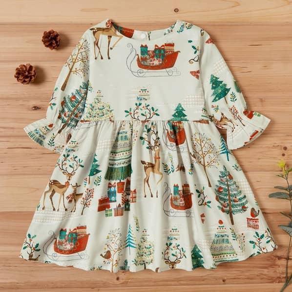 PatPat Baby/Toddler Vintage Christmas Reindeer Print Long Sleeve Dress