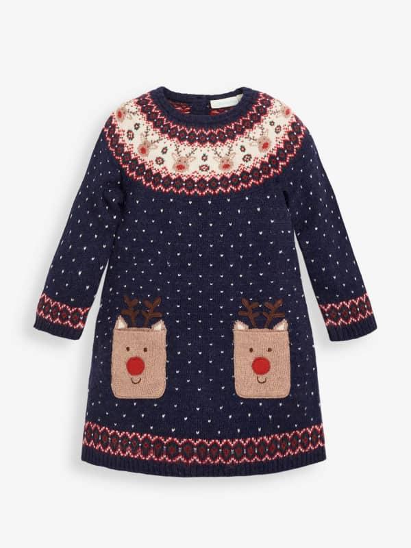 JoJo Maman Bébé Girls' Navy Reindeer Fair Isle Dress