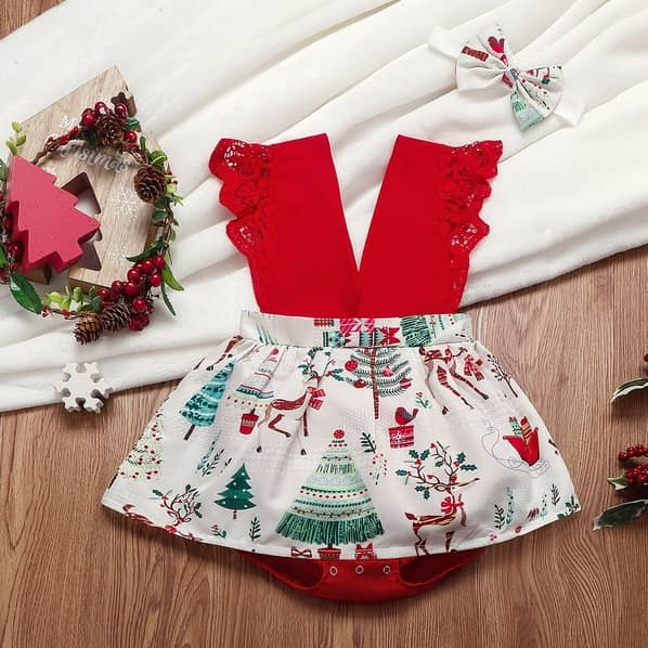 PatPat Two Piece Baby Girl Sweet Christmas Tree Romper With Headband