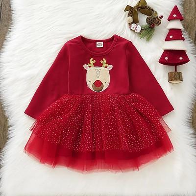 PatPat Baby Girl Animal & Elk Sweet Dress Christmas Cotton Long Sleeve Children's Princess Dresses