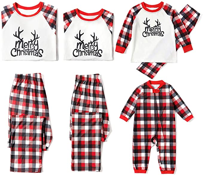 Yaffi Family Matching Deer And Plaid PJs Set.