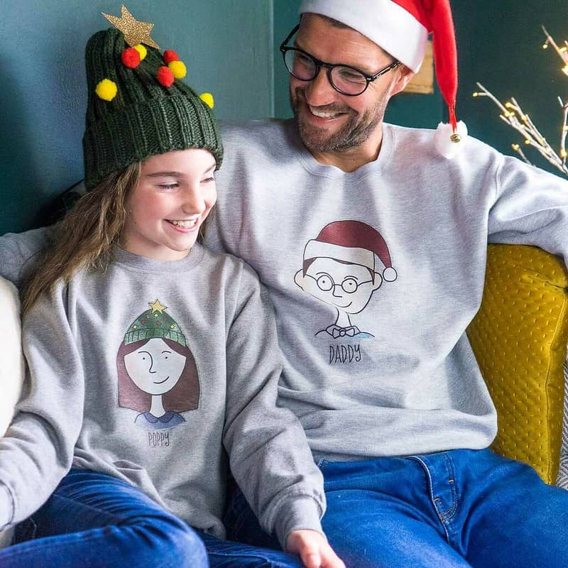 Sparks And Daughters Personalised Family Portrait Christmas Jumpers