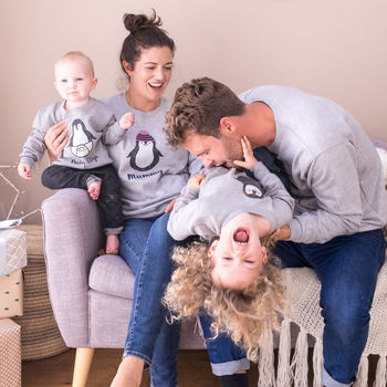 Sparks And Daughters Personalised Family Penguin Christmas Jumper Set