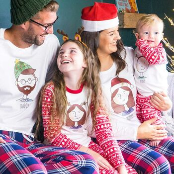 Sparks And Daughters Personalised Family Portrait Christmas Pyjamas.