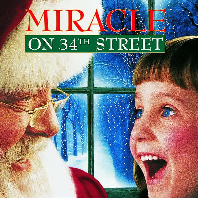 A six-year-old girl with Santa Claus in the promotional poster of the film Miracle on 34th Street.