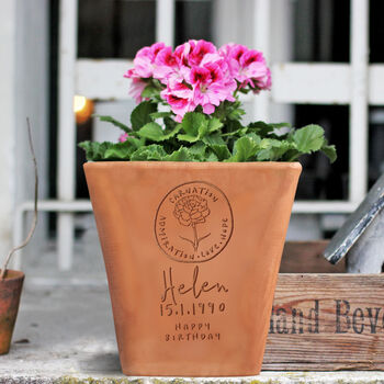 Engraved Birthflower Plant Pot By Letterfest