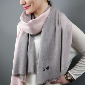 Personalised Cashmere Blend Ombre Scarf by Studio Hop