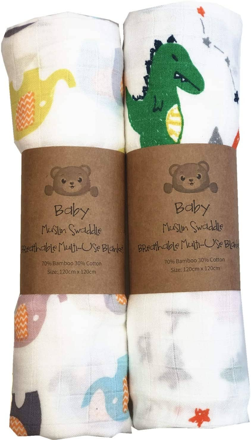 Best Home And Baby Extra Large Muslin Swaddle Blankets, Dinosaur & Elephant