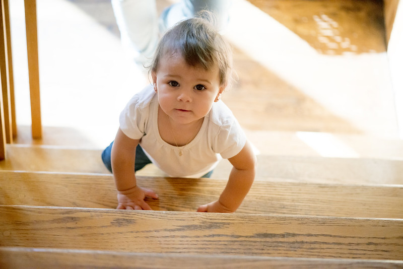 Baby crawling up stairs.