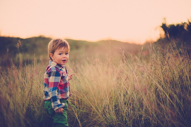 Boy exploring field.
