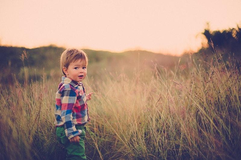 Boy exploring field.