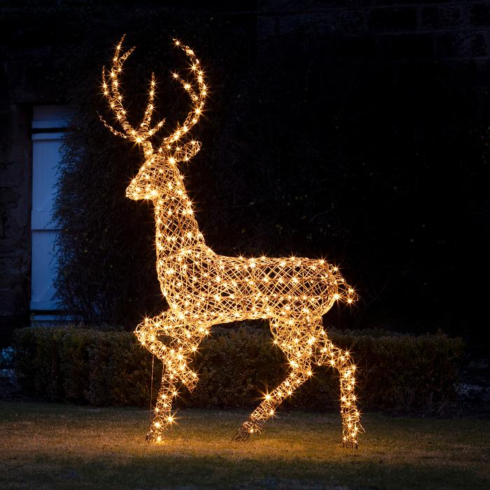 Lights4Fun Rattan Stag Outdoor Christmas Figure.