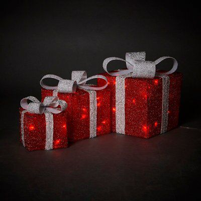 B&Q Red LED Present Trio.