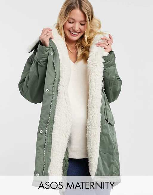ASOS Design Maternity Waterfall Parka With Borg Lining