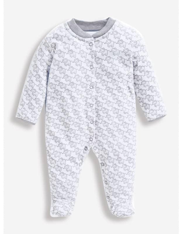 Little Elephants Baby Sleepsuit - Jojo Maman Bebe