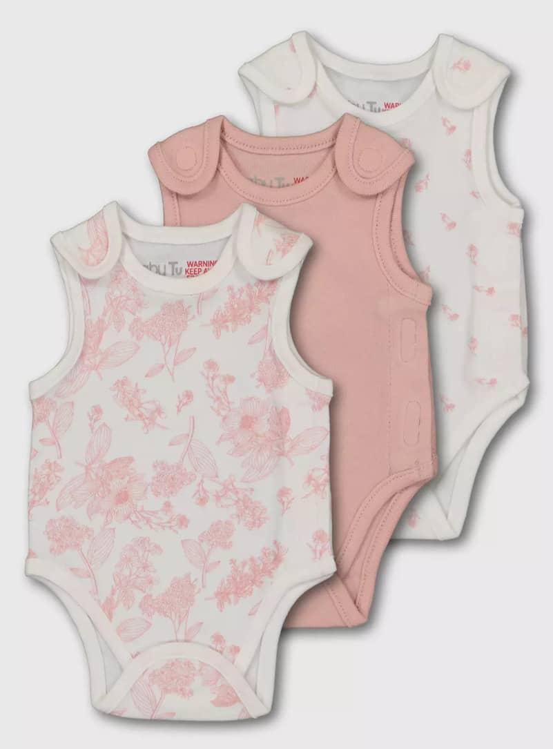 Pink Floral Premature Bodysuit 3 Pack - Argos