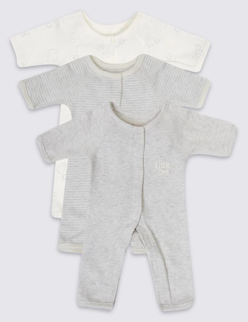 Adaptive 3 Pack Premature Pure Cotton Sleepsuits - M&S