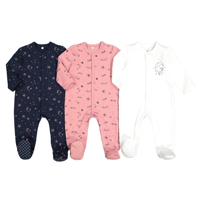 Pack of 3 Cotton Newborn Sleepsuits in Moon Print - La Redoute