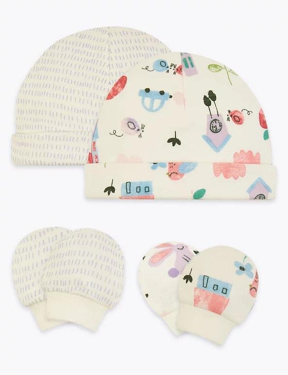 2 Pack Premature Hats & Mittens Set - M&S
