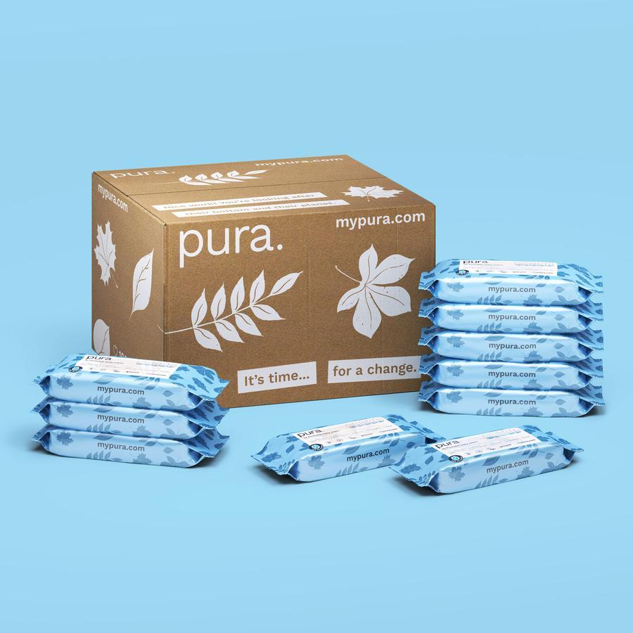 Pura Flushable Biodegradable 100% Plastic-Free Wipes