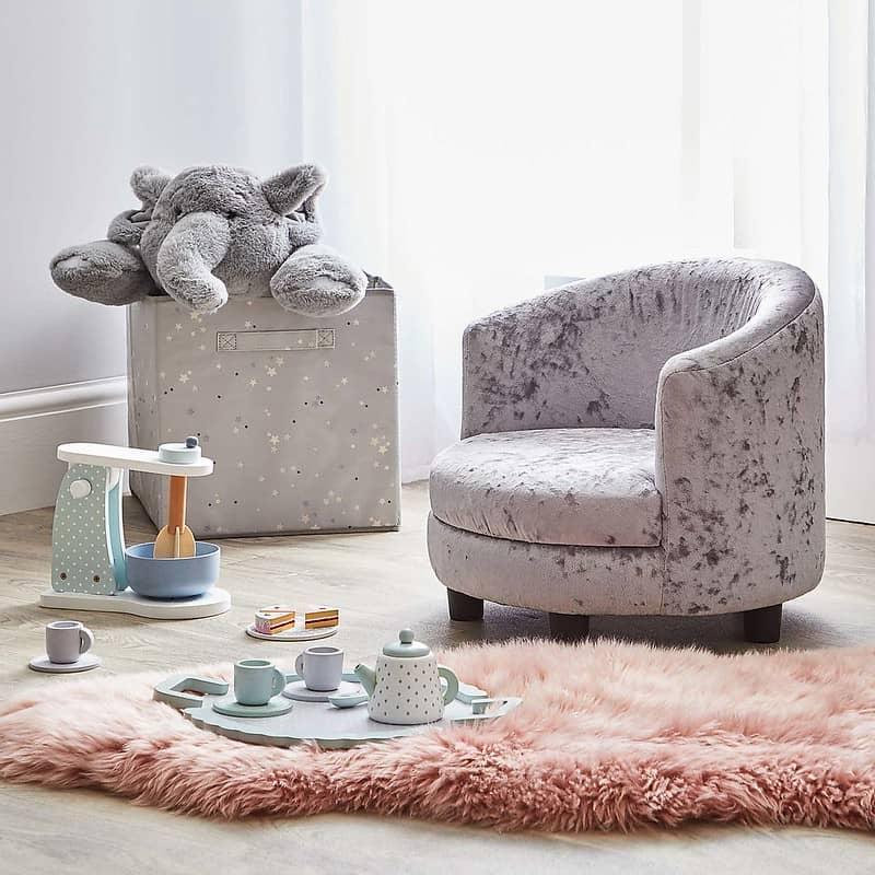 Dunelm Kids Silver Crushed Velvet Chair