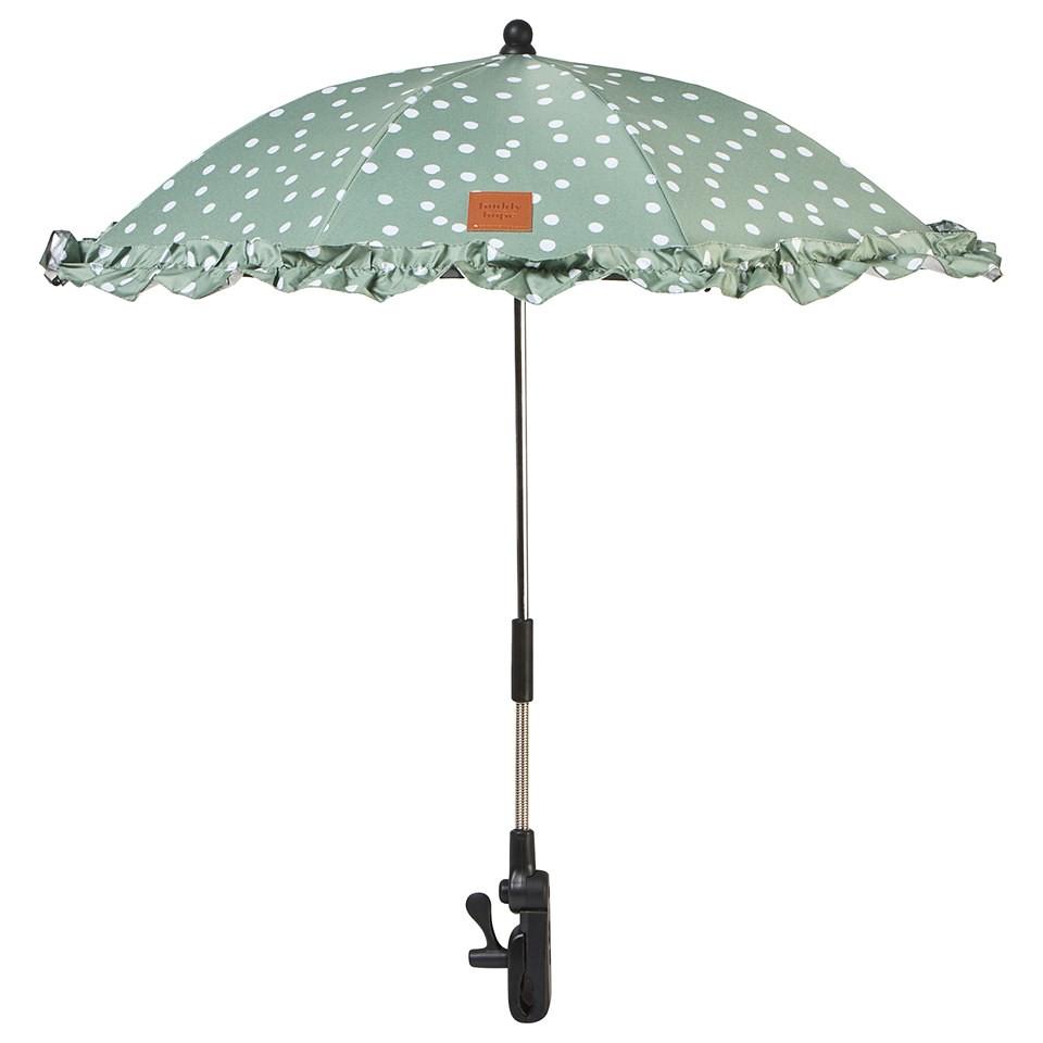 Buddy & Hope Green Spot Flounce Stroller Parasol.