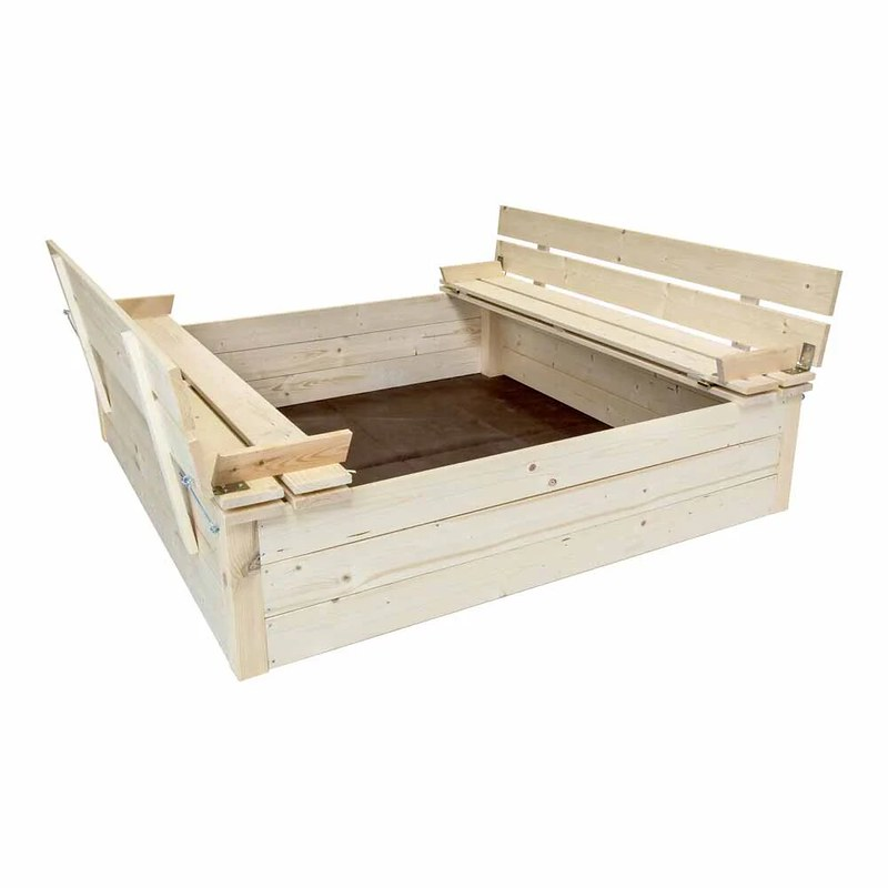 Charles Bentley Square Wooden Sandpit With Benches