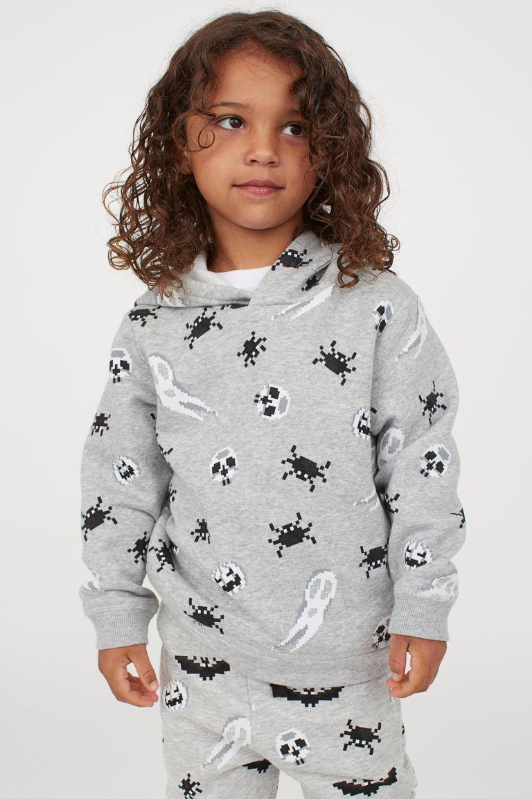 H&M Printed Hoodie - Grey Marl/Spiders.