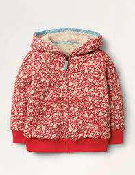 Boden Shaggy-Lined Hoodie - Cherry Tomato Vintage Daisy.