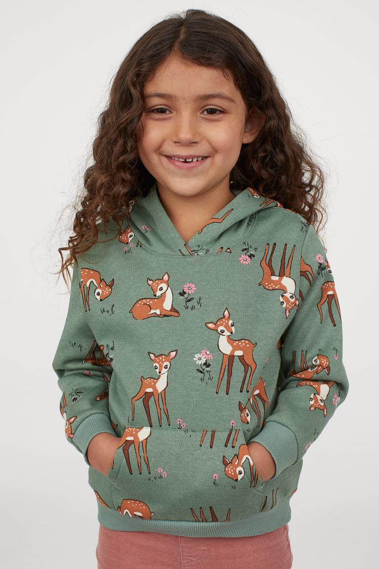 H&M Motif Hoodie - Green/Deer.
