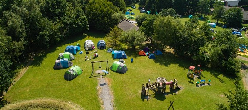 Drone shot of outdoor play area.