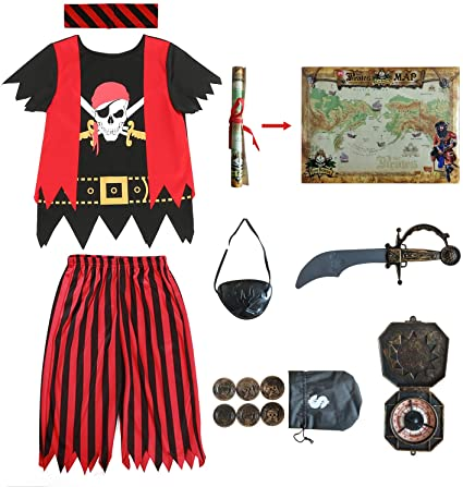 Sincere Party 8 Piece Kids' Pirate Costume.
