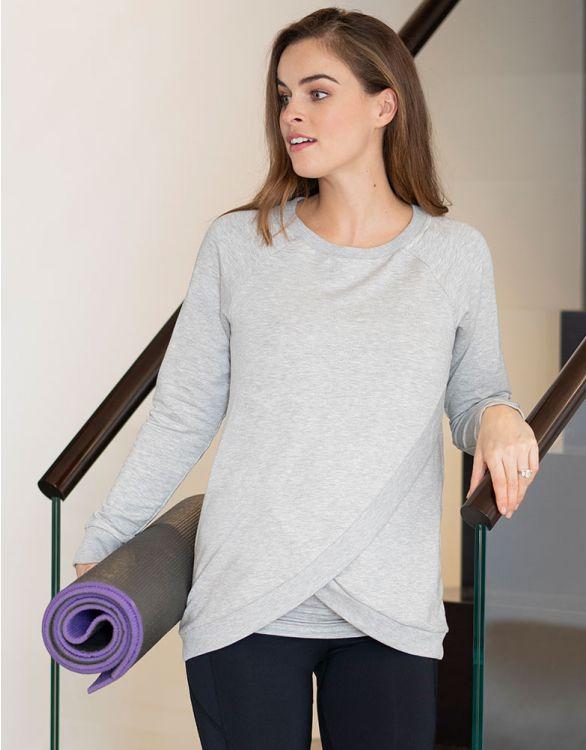 Seraphine Grey Marl Crossover Maternity & Nursing Sweater