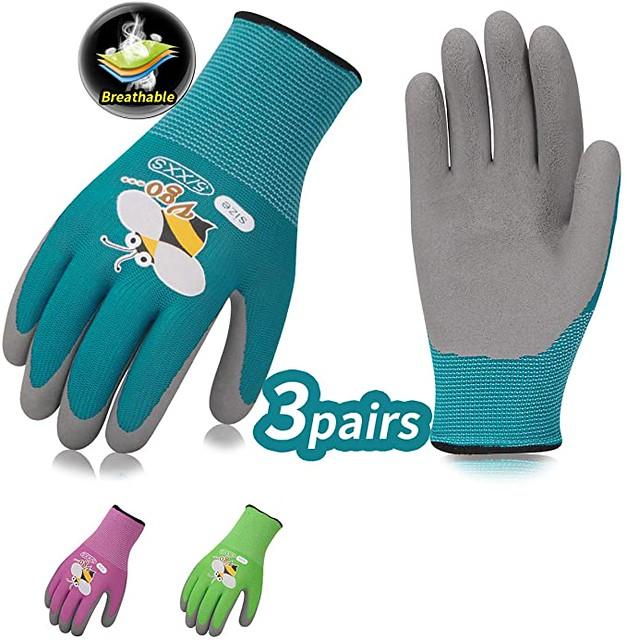 Vgo Three Pairs Kids Multicolored Garden Gloves.
