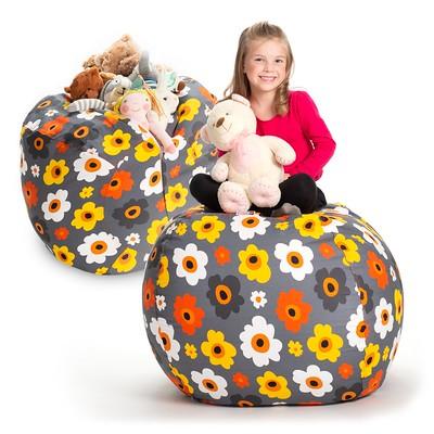 Creative QT Soft Toy Storage Bean Bag Chair, Daisy Grey.