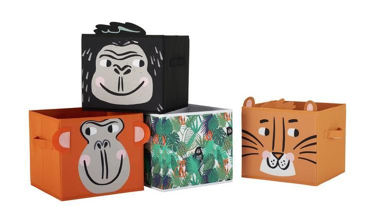 Argos Home Jungle Safari Canvas Boxes, Set Of 4.