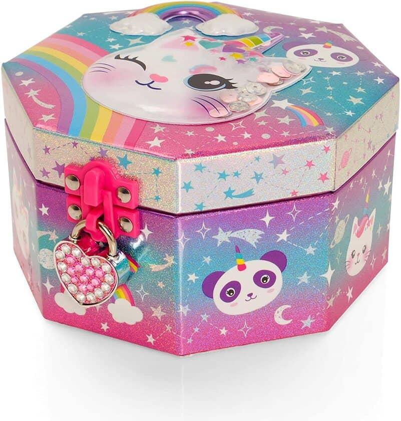 Style Girlz Caticorn Girls Jewellery Box & Heart Lock