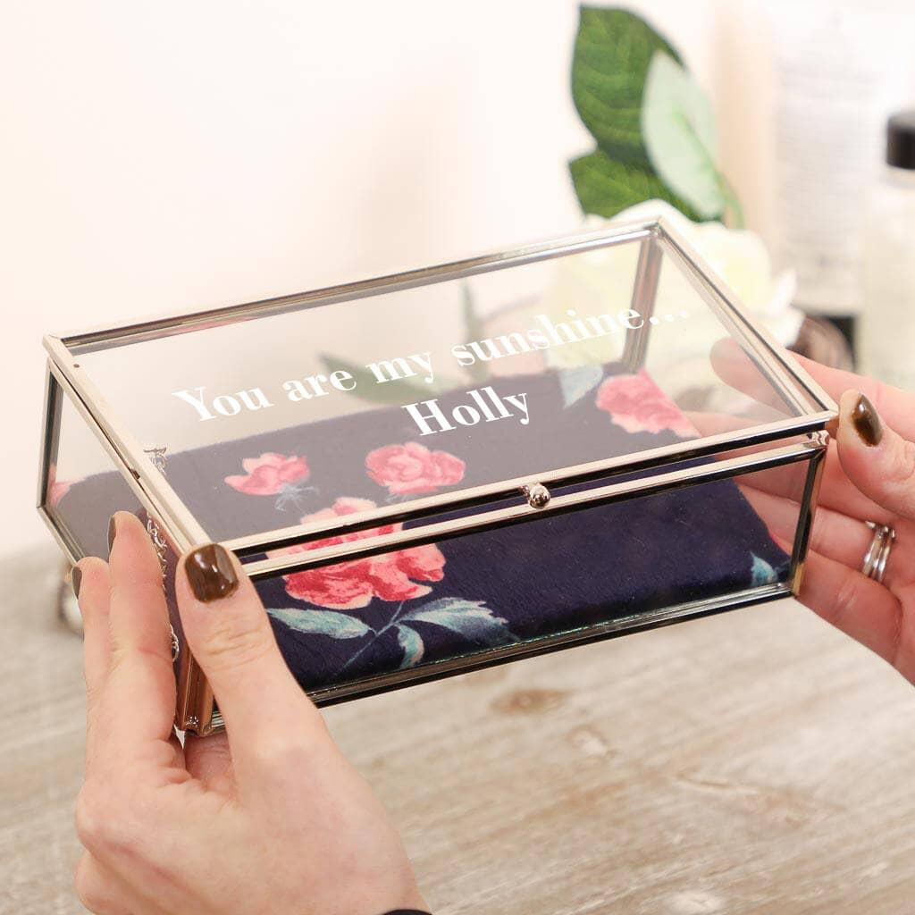 Dibor Personalised Rose Blooms Glass Jewellery Box