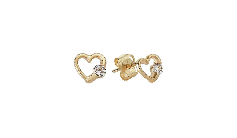 Revere Kid's 9ct Yellow Gold Heart Stud Earrings