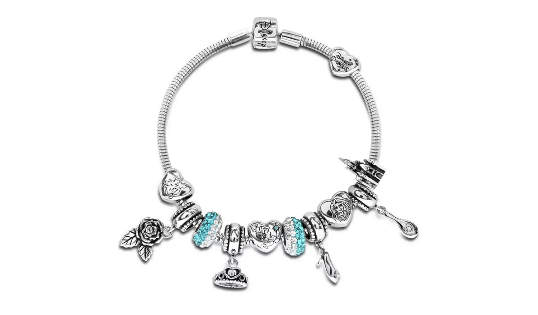 Disney Princess Crystal Made Up Charm Bracelet