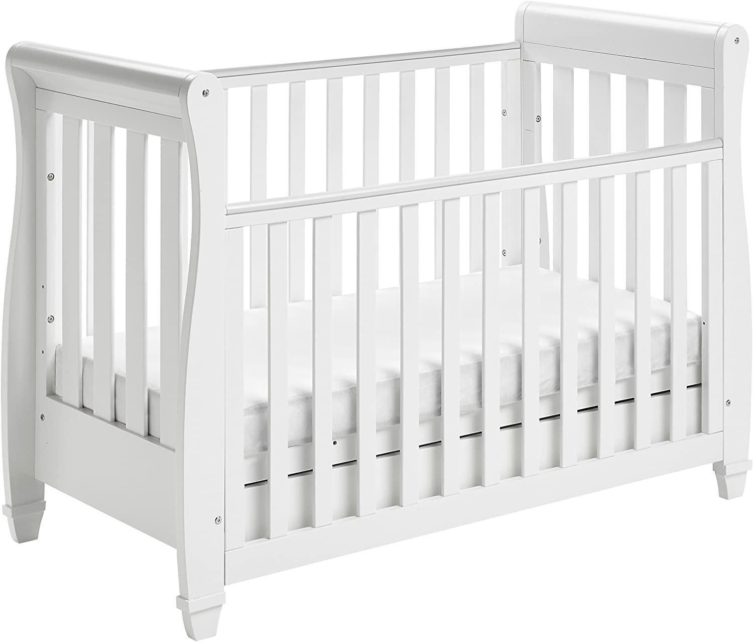Babymore Eva Sleigh Cot Bed Drop Side With Drawer.
