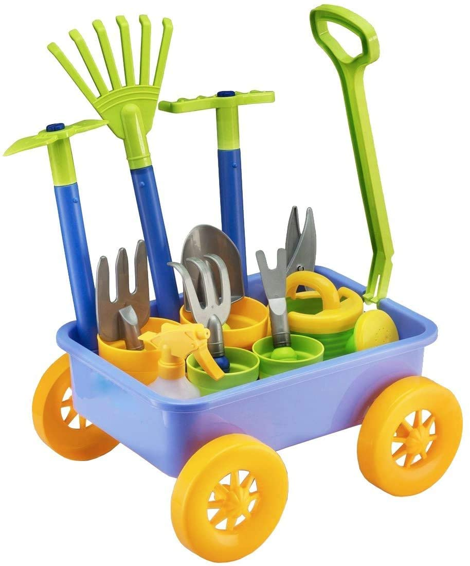 deAO Pull Along Kids Wheelbarrow And Gardening Tools