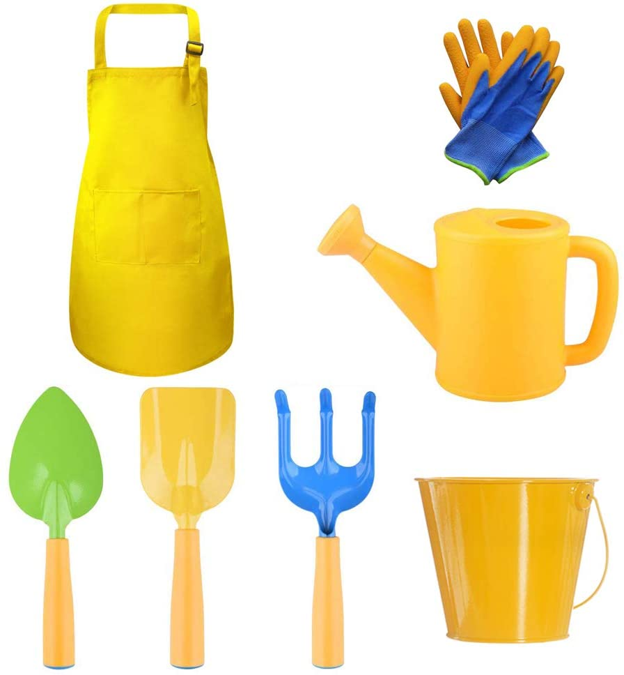 FUQUN Gardening Tool Set for Kids Children, 7 Piece Garden tool set for Kids