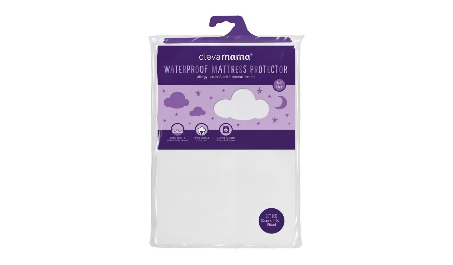 Clevamama Waterproof Mattress Protector Cot Bed.